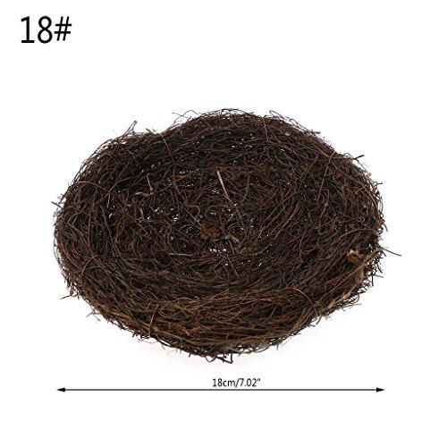 (Seaskyer Handmade Vine Brown Simulation Bird Nest for Garden Nature Craft Decoration (18cm/7.02