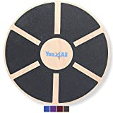 Yes4All Wooden Wobble Balance Board - Exercise Balance Stability Trainer 15.75 inch Diameter - Black - ²DB6FZ