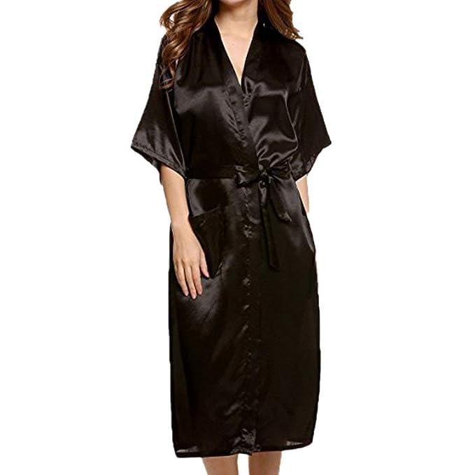 2520da5517 Lowprofile 2 Pcs Women Long Sexy Robe Lingerie Belt Sleepwear Satin Chemise  Nightgown Underwear Outfits (
