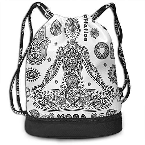 - Drawstring Backpacks Bags,Ornamental Symbols Ethnic Paisley Motifs Asia Hamsa Hand Harmony Aura,Adjustable