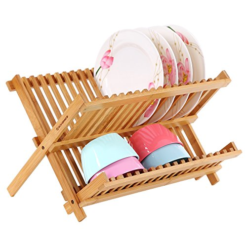 SONGMICS 18 Slot Bamboo Dish Rack Folding Dish Drying Holder Utensil Drainer (Bamboo Dish)
