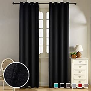 Top Finel Thermal Insulated Solid Blackout Curtains Eyelets Velvet Window Treatments for Living Room Bedroom 52x63 inch, 130x160 cm, Set of 2 Panels, Grommets, Black