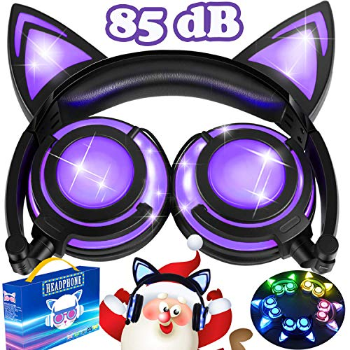 AMENON Kids Headphones Girls Boys Toddler,Glowing Cat Ear Headphones with Mic 85dB Volume Limited,Foldable Wired Over/On Ear Led Headsets for Kid Tablet Phone Pad School Christmas Musical Audio Gifts