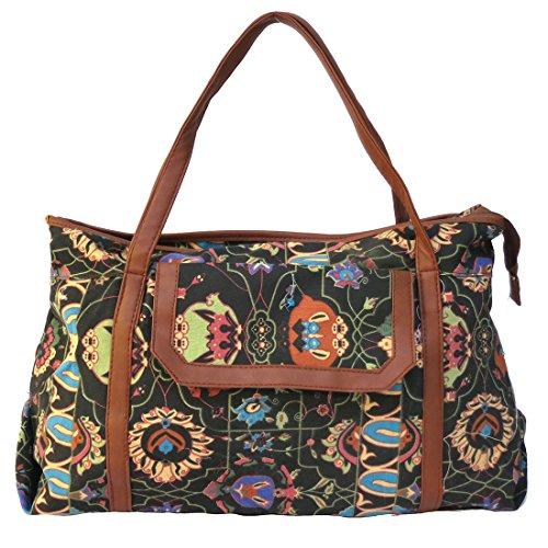 Large Floral Print Tote Handbag Black Fabric Tan Faux Leather Trim by Corona (Corona Trim)