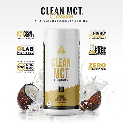 Clean MCT Capsules - Pure C8 MCT Oil Softgels - Highly Ketogenic Medium Chain Triglycerides - Instantly Converts into Ketones - Supports Ketosis - Cognitive Function - 1000mg Each by LevelUp (Image #2)