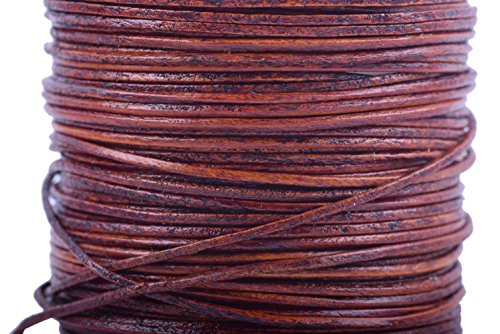 KONMAY 1 Roll 25 Yards 1.0mm Round Genuine/Real Leather Cord Beading String (Distressed - Real Jewelry Leather Cord