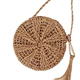Teeya Straw Crossbody Bag Women Weave Shoulder Bag Round Summer Beach Purse and Handbags, Small Brown, Medium