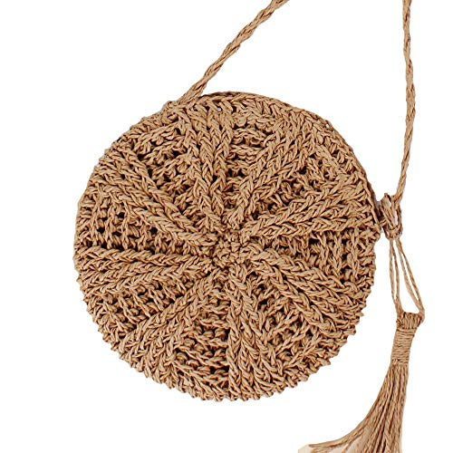 Teeya Straw Crossbody Bag Women Weave Shoulder Bag Round Summer Beach Purse and Handbags, Small Brown, Medium by Teeya (Image #7)