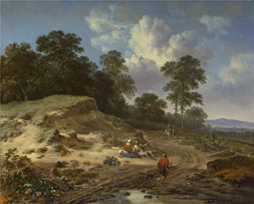 Oil Painting 'Jan Wijnants A Track By A Dune With Peasants And A Horseman' 10 x 12 inch / 25 x 32 cm , on High Definition HD canvas prints is for Gifts And Game Room, Gym And Study Room decor, home