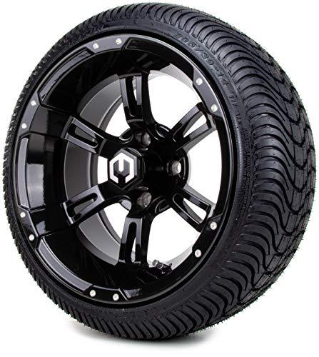 14″ MODZ Ambush Glossy Black Golf Cart Wheels and Low Profile Tires Combo Set of 4