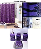 17 Piece Bath Accessory Set- Purple Zebra Shower Curtain with Decorative Rings + Bathroom Accessories Set