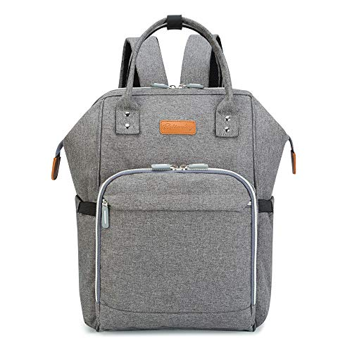 Diaper Bag Backpack for Baby Girls and Boys, Maydolly Waterproof Multifunctional Travel Nappy Diaper Backpack with Changing Mat and USB Charging Port for Mom and Dad, Grey