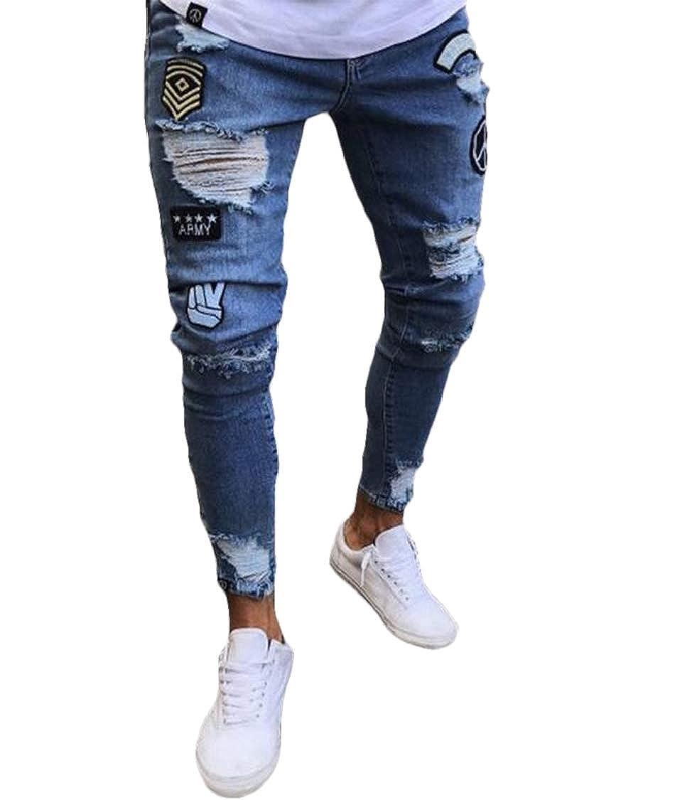 MU2M Men Skinny Fit Print Ripped Big /& Tall Fashion Jeans Denim Pants