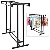 Stainless Steel Double Rod Hangrail Department Store Style Clothes / Garment Floor Display Rack - MyGift® (Kitchen)