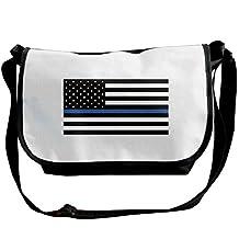 Unisex Support The Police Thin Blue Line American Flag Shoulder Bags Casual Handbag Travel Crossbody Bag Messenger Sling Bag
