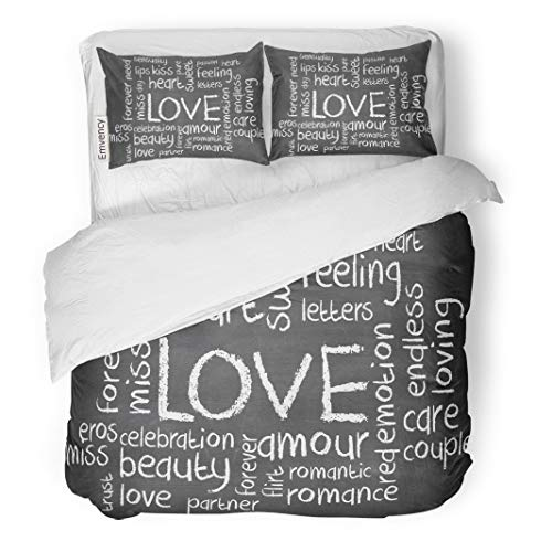 Semtomn Decor Duvet Cover Set Twin Size Pink Abstract Love Word Cloud on Blackboard Red Affection 3 Piece Brushed Microfiber Fabric Print Bedding Set -