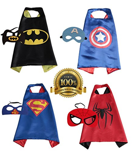[4 PACK Satin Superhero CAPE & MASK SETS - Boys, Girls, Children (Boys Superhero Set)] (Easy Bane Costumes)