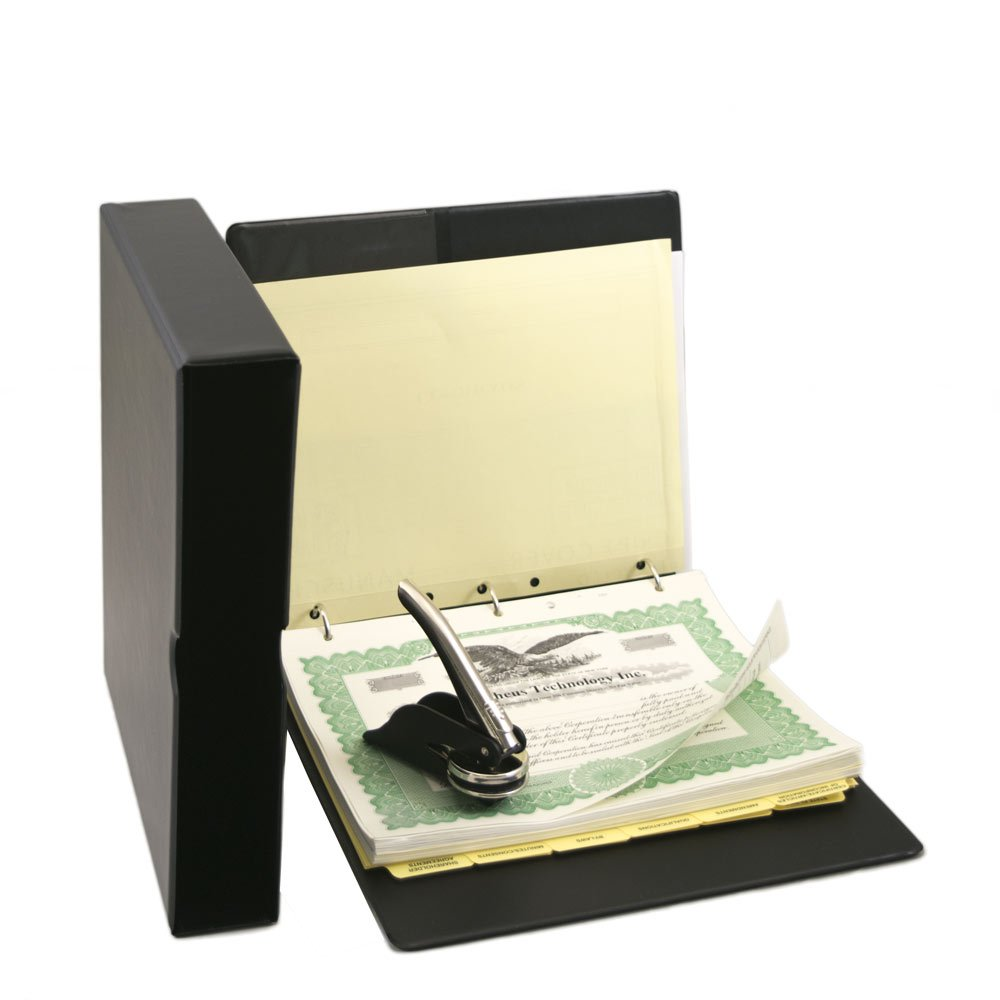 Blumberg Black Beauty Corporate Kit with Printed Corporation Minutes & Bylaws, Records Binder, Corporate Seal, Printed Certificates with Stubs and More (Black)