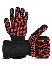 BBQ Gloves Oven Gloves 1472℉/800℃ Heat Resistant Gloves, Non Slip BBQ Cooking Grill Gloves Oven Mitts Heat Resistant Kitchen Oven Mitts Grilling Gloves for BBQ Smoker, Baking Cooking