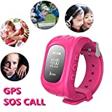 Hangang Q50 Kids 2 Way Calls SOS Location Finder Locator Device Tracker for Children Safe Anti Lost Smart Watch Pedometer GPS Tracker Children Gifts SOS Realtime Time Tracking Parents Control by iOS & Android APP (Pink)