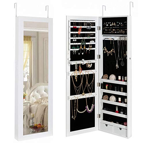 Marble Field Mirrored Jewelry Cabinet Lockable Wall Door Mounted Jewelry Armoire Organizer with Mirror 2 Drawers, White