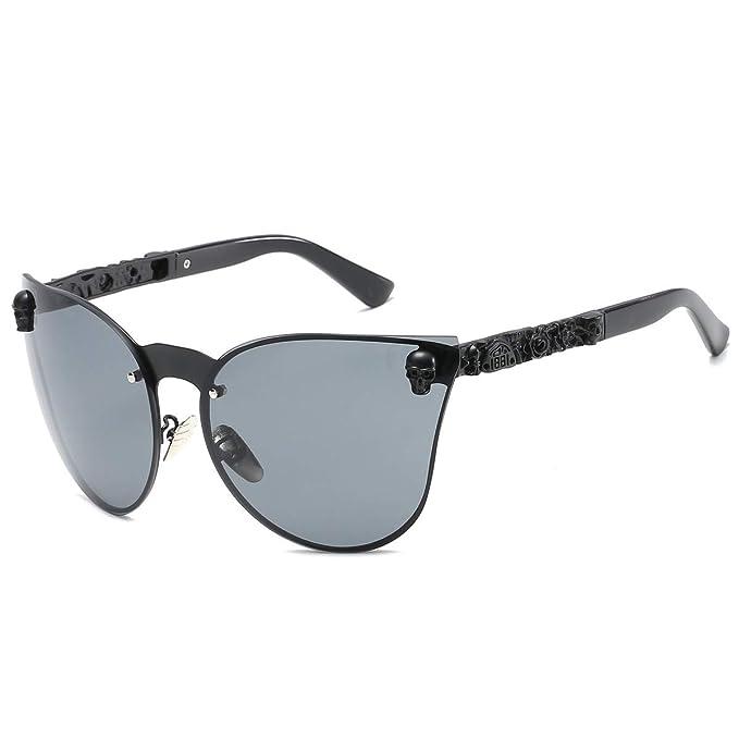Amazon.com: SamuRita Gafas de sol sin borde gótico de cráneo ...