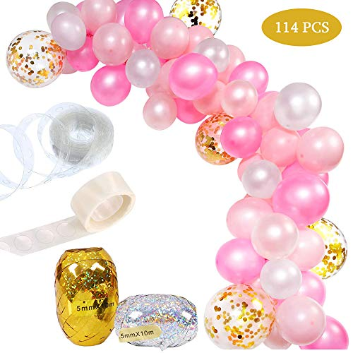 Balloon Garland Kit White & Pink & Gold 110 Pcs Latex Balloons Arch Garland Pack for Baby Shower Bridal Shower Birthday Party Anniversary Graduation Centerpiece Backdrop Decorations