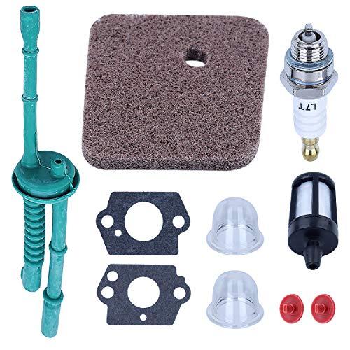 Adefol 10pcs Check Valve Kit String Trimmer Replacement Parts for Stihl FS38 FS45 FS46 FS55 HL45 FC55 with [ Air Filter, Primer Bulb, Carb Gasket, Spark Pug, Fuel Line, Fuel Filter ] for 41401242800