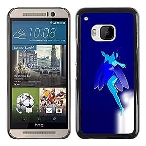 TopCaseStore / la caja del caucho duro de la cubierta de protección de la piel - Blue Flying Fairy - HTC One M9
