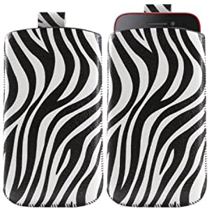 Bloutina iTALKonline WHITE BLACK ZEBRA Quality PU Leather Slip Pouch Protective Case Cover with Pull Tab for Nokia Lumia...