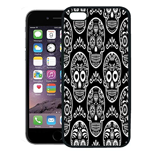 Semtomn Phone Case for iPhone 8 Plus case Cover,Pattern Mexican Sugar Skull on Black Halloween White Candy Celebration Calavera Cool,Rubber Border Protective Case,Black -