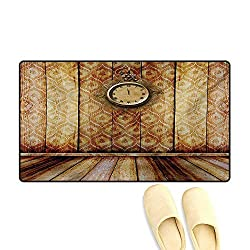Bath Mat,Antique Clock on Medieval Style Wall Wooden Floor Classic Architecture Theme Art,Doormat Outside,Beige Brown,20x32