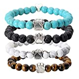 JOVIVI 4pc Vintage Lava/Turquoise/Tiger Eye Stone Healing Power Crystal Dog Paw Charm Elastic Stretch Beaded Bracelets