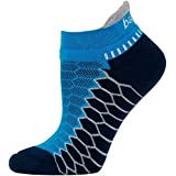Balega Silver Antimicrobial No-Show Compression-Fit Running Socks for Men and Women (1 Pair), Bright Turquoise/Ink, Large