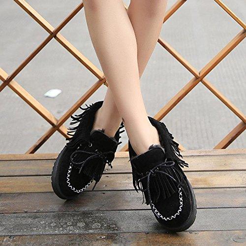 NSXZ Winter fashion tassel tie round snow boots warm ankle boots BLACK-90160CM 27Y7u