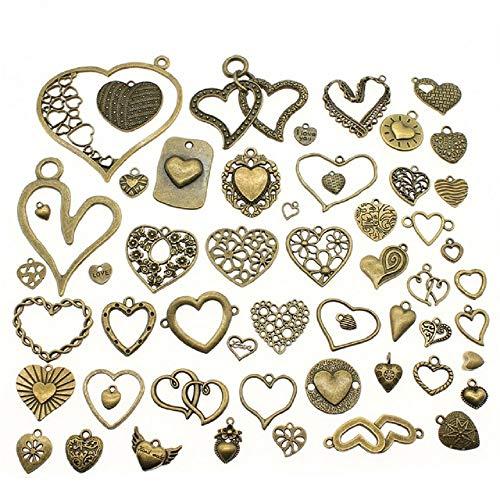 Chengxun 55 Pcs Wholesale Bulk Mixed Antique Bronze Love Heart Necklace Pendants Assorted Bracelets Charms for DIY Jewelry Making