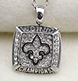New Orleans Saints Necklace - Silver - Pendant Charm Chain Unisex Jewelry - Super Bowl Champions - Shipped from U.S.A. - Great Gift