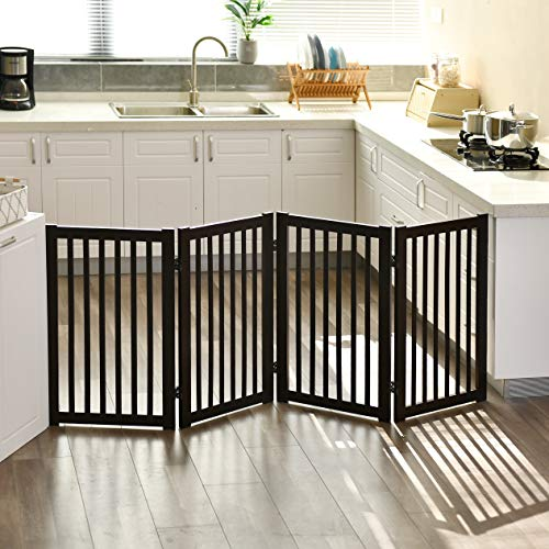 WELLAND Freestanding Wood Pet Gate Espresso, 72-Inch Width, 30-Inch Height (No Support Feet)
