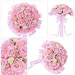 Wedding-Bouquet-Pink-Rose-Flowers-Bouquet-Long-Silk-Ribbon-Fake-Pearl-Brida-Bridesmaid