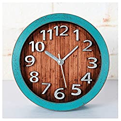 Retro Europe Style Wood Pattern Silent Non-ticking Desk Wall Clock Desktop Clock (Green)