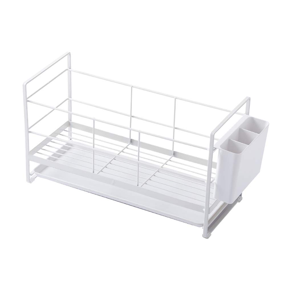 Kitchen shelf, Large Dish Drainer Mugs and Cutlery Holder Removable Drip Tray Chrome