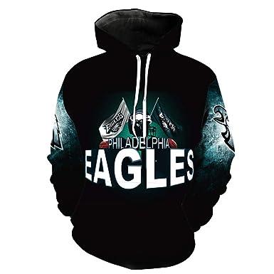 a8c5fed46 Men's Hooded Long Sleeve 3D Digital Print Philadelphia Eagles Football Team  Pullover Hoodies (S,
