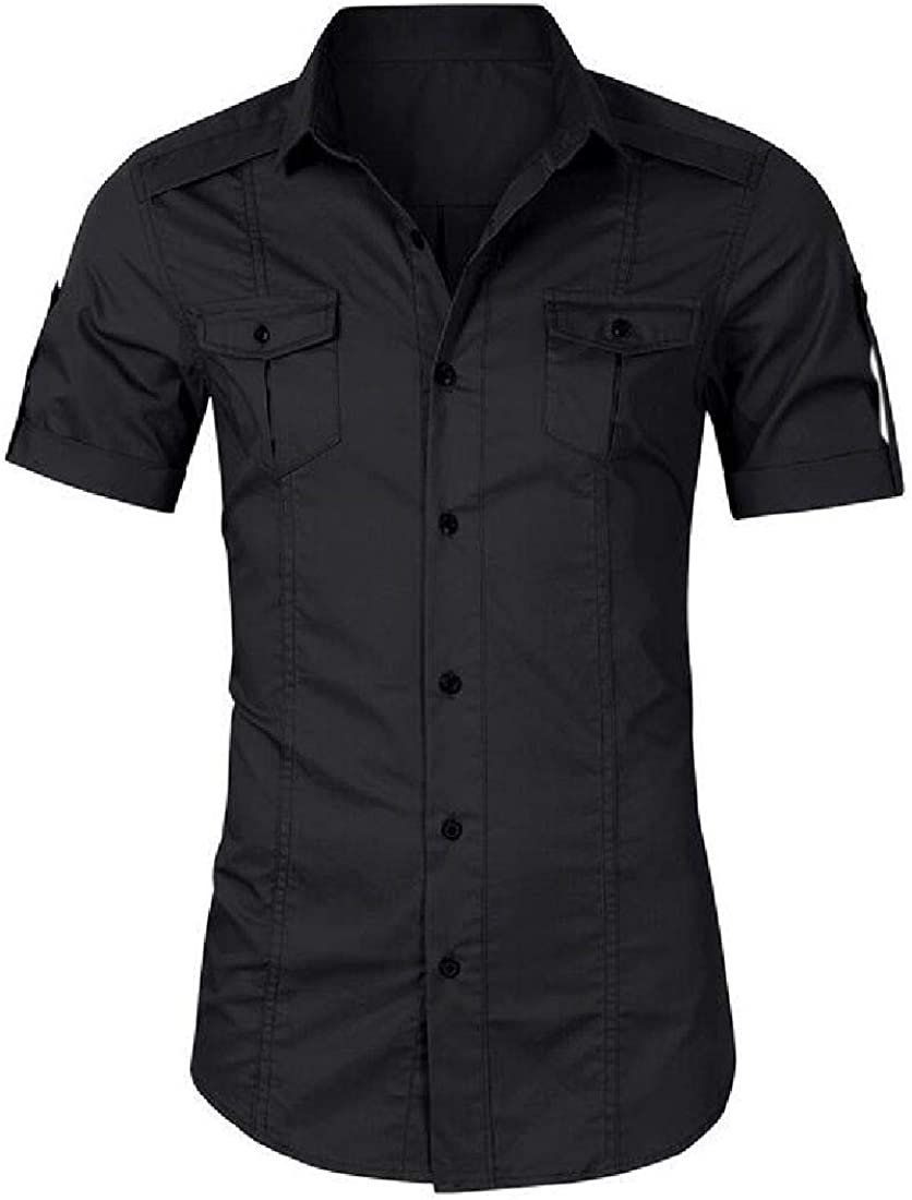Fubotevic Mens Casual Button Down Military Pockets Short Sleeve Twill Work Shirts