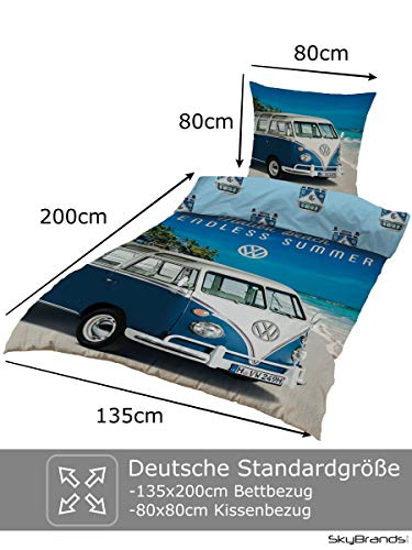 51Ic%2Buf4wcL Bettwäsche VW Bulli 135x200 80x80 Kissenbezug [Wendemotiv] Baumwolle Bettbezug Volkswagen Bett Set [Mit Reißverschluss…