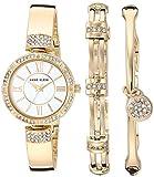 Anne Klein Women's AK/3294GBST Swarovski Crystal Accented Gold-Tone Bangle Watch and Bracelet Set