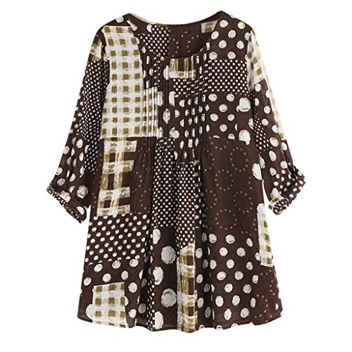 Dainzuy Women Blouses and Tops Fashion 2019 Long Sleeve Vintage Tee Shirts Loose Polka Dot Print Plaid Tops Blouse Brown 16 Flutter Sleeved Tee
