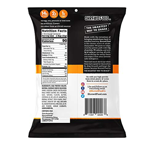 Shrewd Food Keto Protein Puffs, Low Carb, High Protein, Healthy Cheese Puff, 14g per Pack, 2g Carbs, Gluten Free Snacks, Real Cheese, Soy Free, Peanut Free, Baked Cheddar, 8 Pack 4
