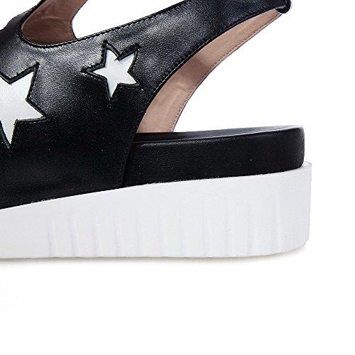 AmoonyFashion Womens Assorted Colors Cow Leather Kitten-Heels Open Toe Buckle Sandals Black 3409gKIk
