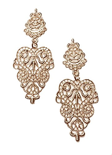 (Gold Tone Victorian Filigree Lace Antique Vintage Style Wedding Bridal Prom Formal Earrings)