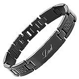 DAD Titanium Bracelet Engraved Love You Dad with Black Carbon Fiber Adjusting Tool & Gift Box Included